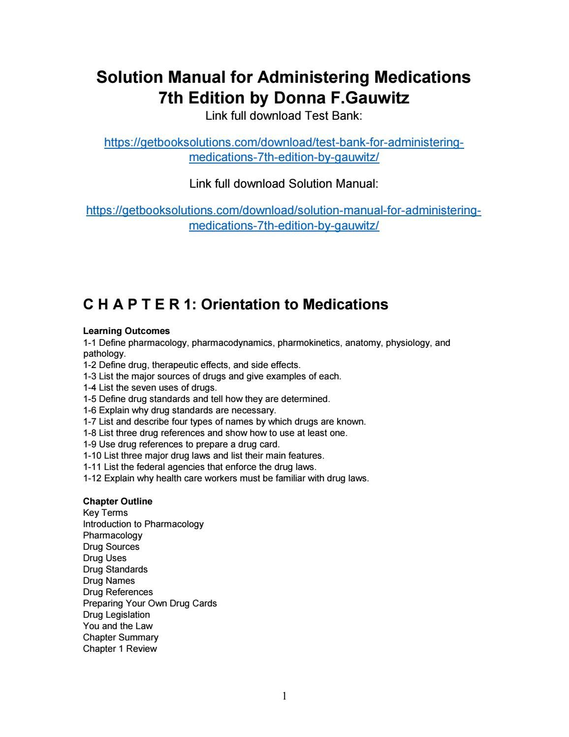 solution manual for administering medications 7th edition by gauwitz rh pinterest com