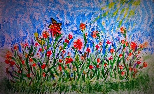 """I will be the gladdest thing under the sun! I will touch a hundred flowers and not pick one."""" ~ Edna St. Vincent Millay (art created by Muriel at TiP Expressive Arts - www.tiparts.com)"""