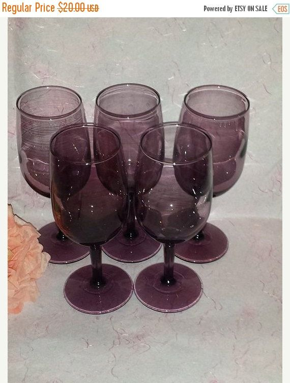 $20--SET of 6 !! Vintage Plum Purple Glasses Set of 6 Water Goblets Wine Glasses Purple * Purple Stemware * by JunkYardBlonde on Etsy