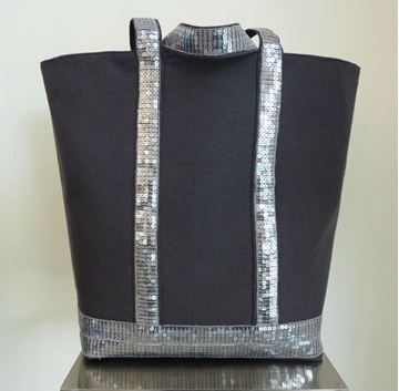 Show details for Sequin Tote - Dark Grey & Silver