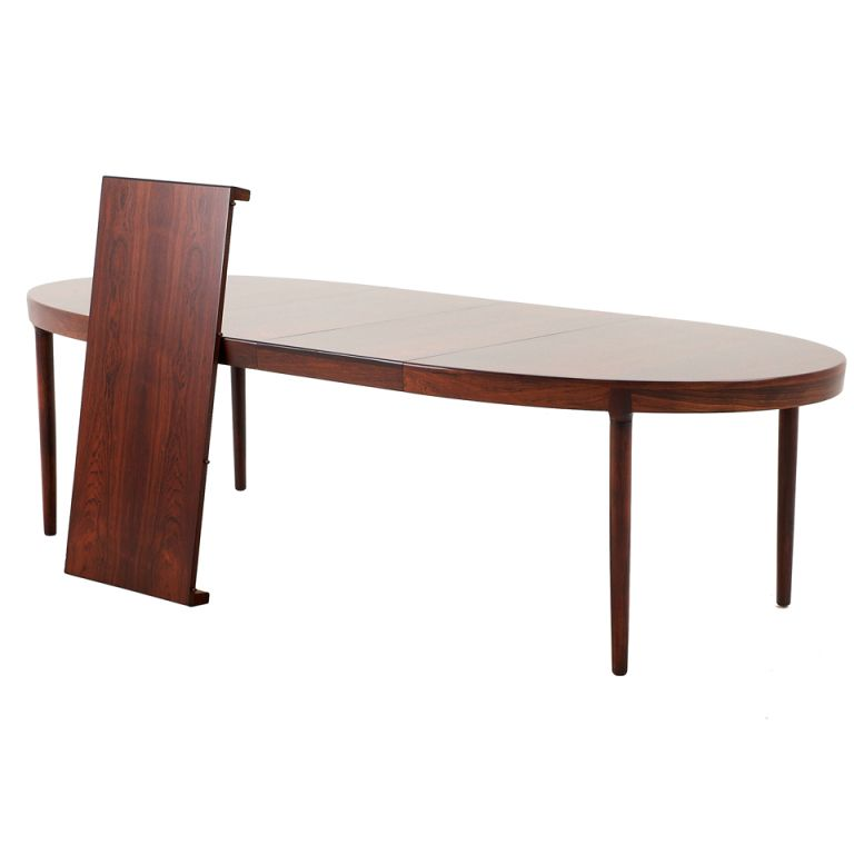 Very Large Danish Rosewood Oval Dining Table With 3 Extension