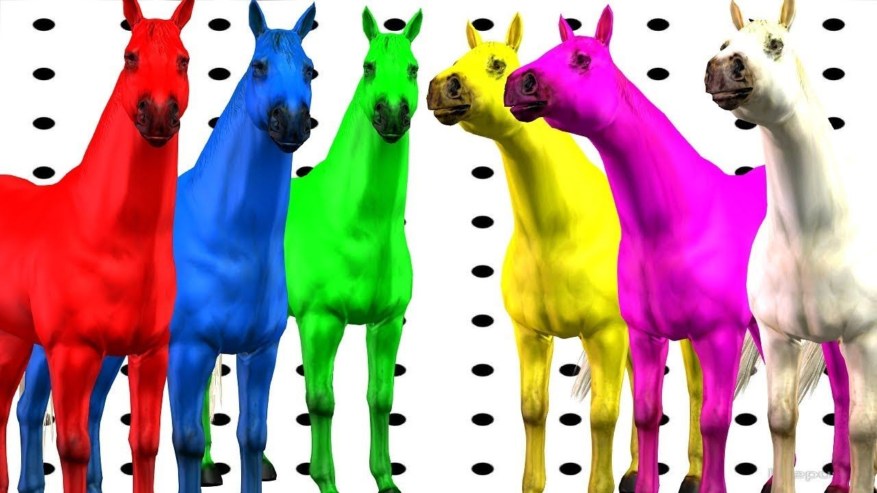 Horse Colorfull Color Song For Children Rhymes || Horse 3D Animated ...