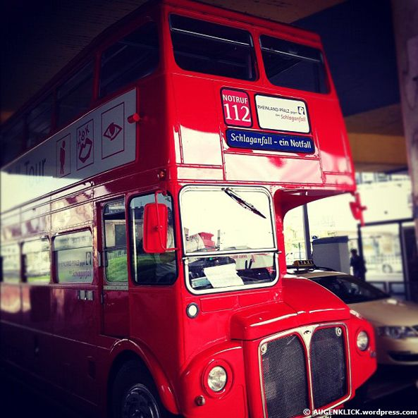 A red London Bus in the german city of Mainz