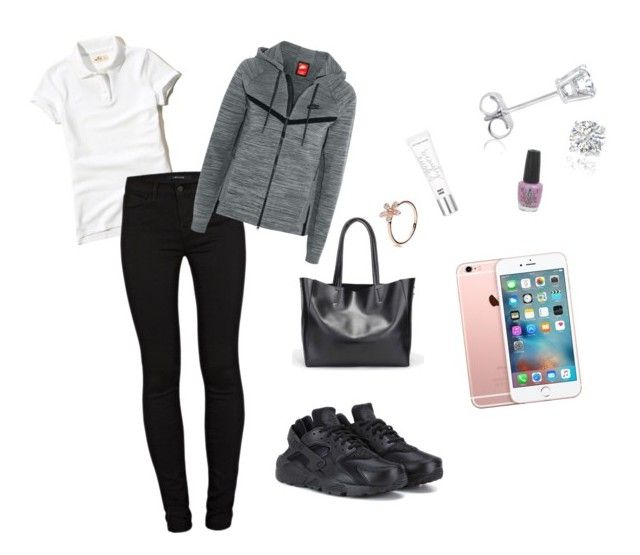 """""""Uniform 💧"""" by dreairrational on Polyvore featuring Amanda Rose Collection, Hollister Co., J Brand, Beauty Rush, NIKE and OPI"""