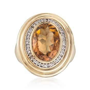Ross-Simons - 5.50 Carat Maderia Citrine Ring With Diamonds in 14kt Gold Over Sterling - #832372