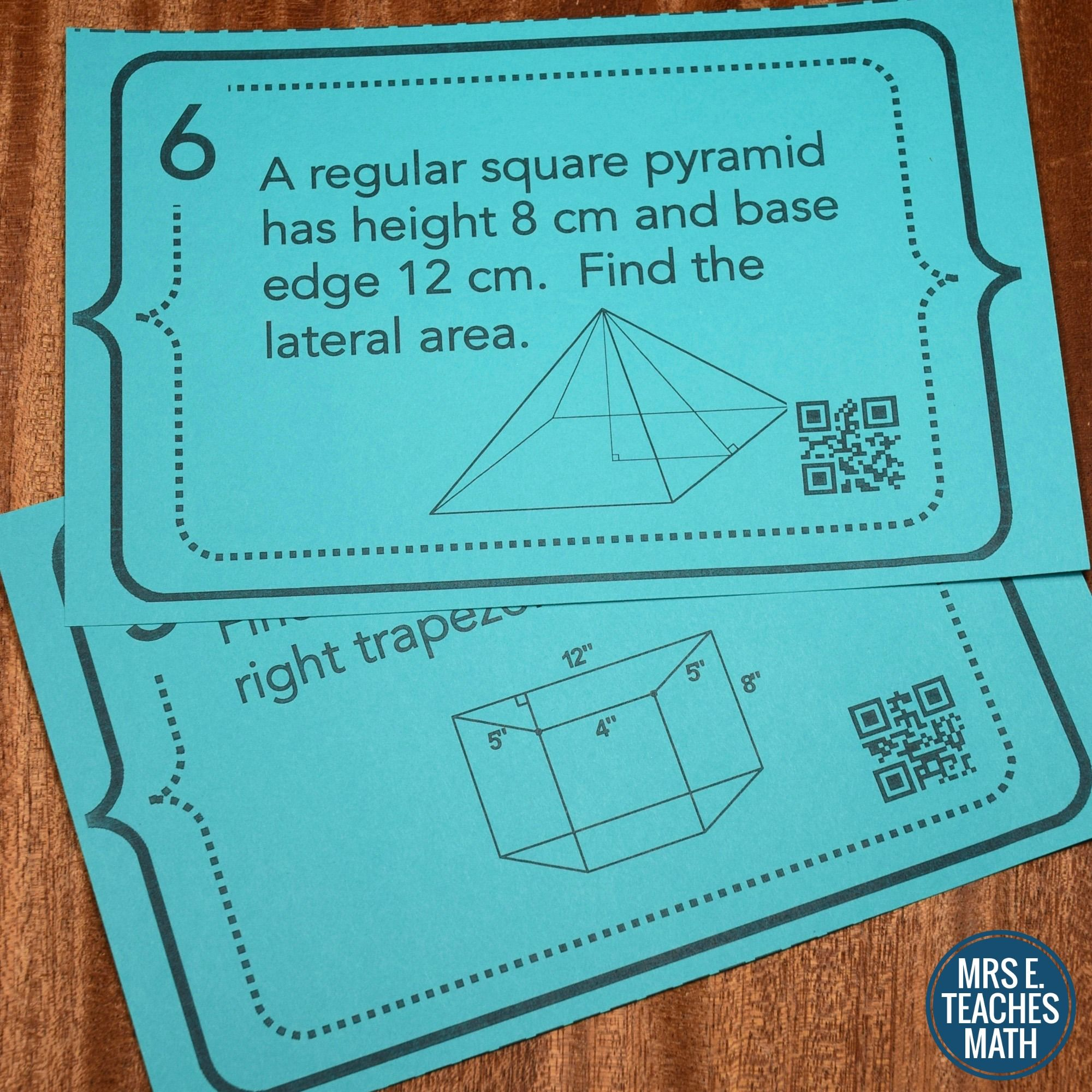 Surface Area and Volume Task Cards | Surface area, Qr codes and Students