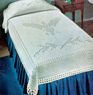 NEW! Popcorn Eagle Bedspread crochet pattern from American Thread ...