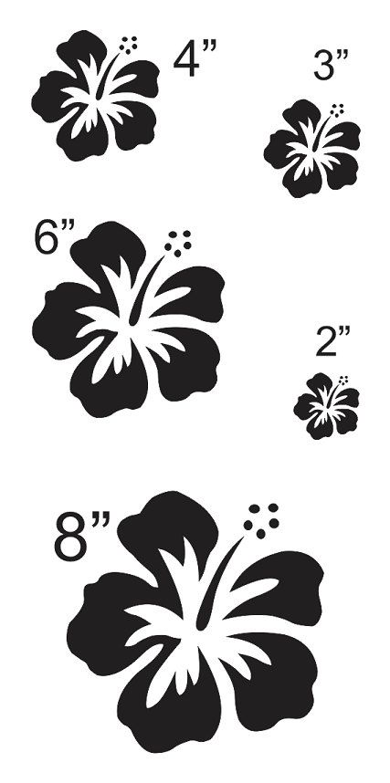 Hibiscus Flower #3 STENCIL sheet with 5 total** Sizes 2\