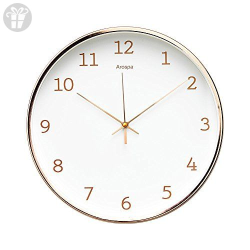 Luxury Modern 12u201d Silent Non Ticking Wall Clock With Rose Gold Frame  (Feminine