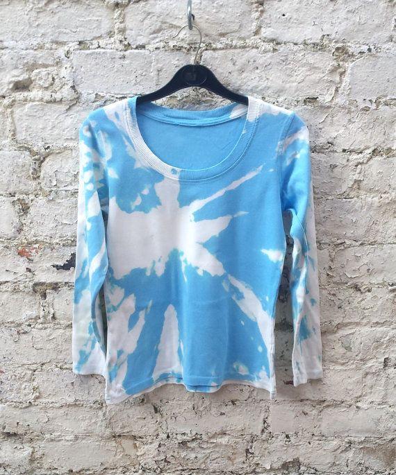 Tshirt Long Sleeve in Tie Dye Pastel Blue Shades by AbiDashery
