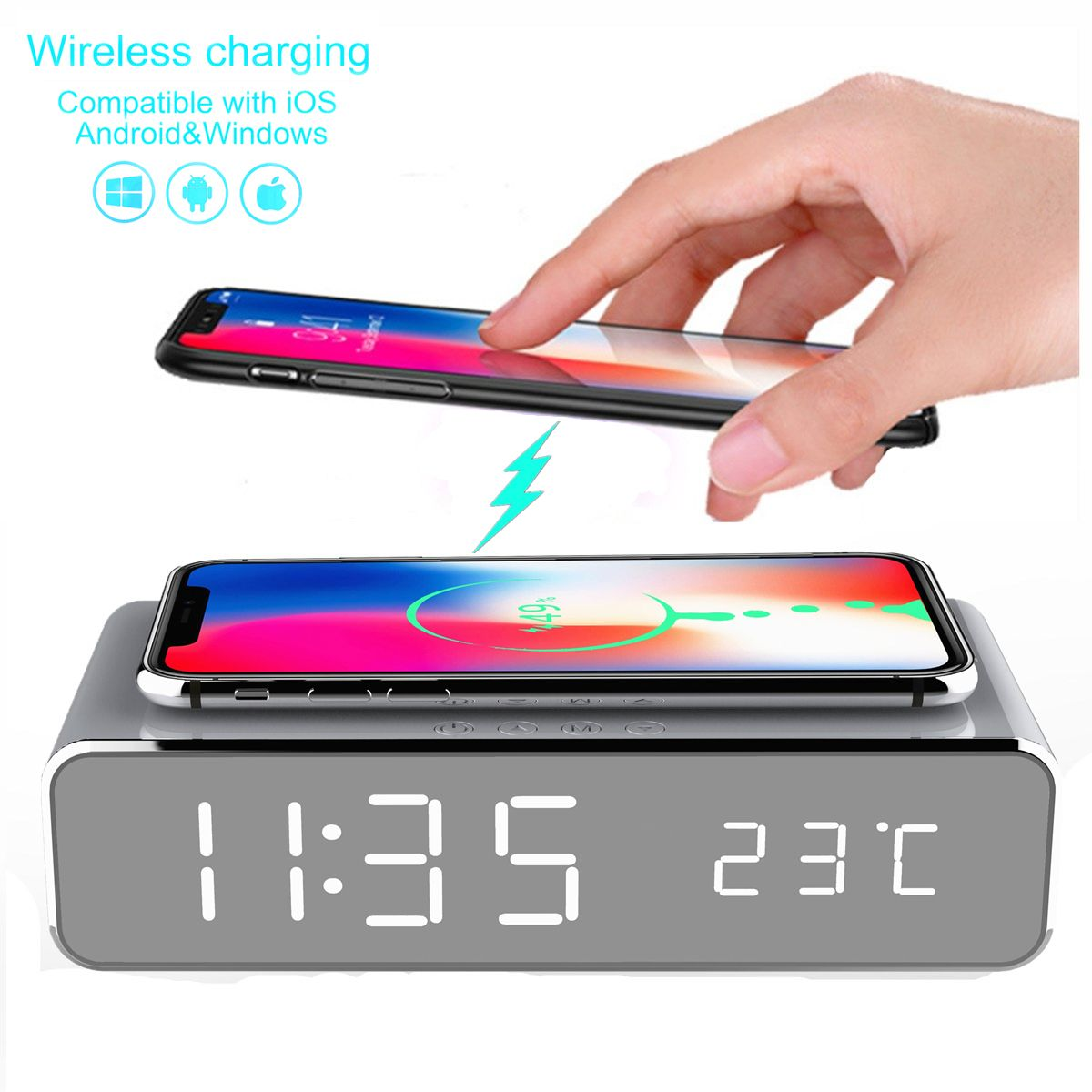 Electric Led Alarm Clock With Phone Wireless Charger Desktop Digital Thermometer Clock Hd Mirror Clock With Tim Digital Alarm Clock Alarm Clock Led Alarm Clock