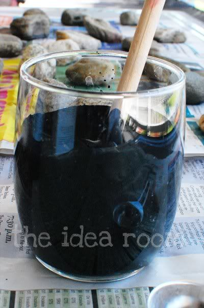 Martha Stewart's recipe for homemade chalk board paint.  Wow.  And in any color! So much cheaper than pre mixed bottle....