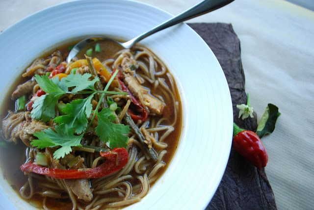 Spicy Chicken Thai noodles and broth