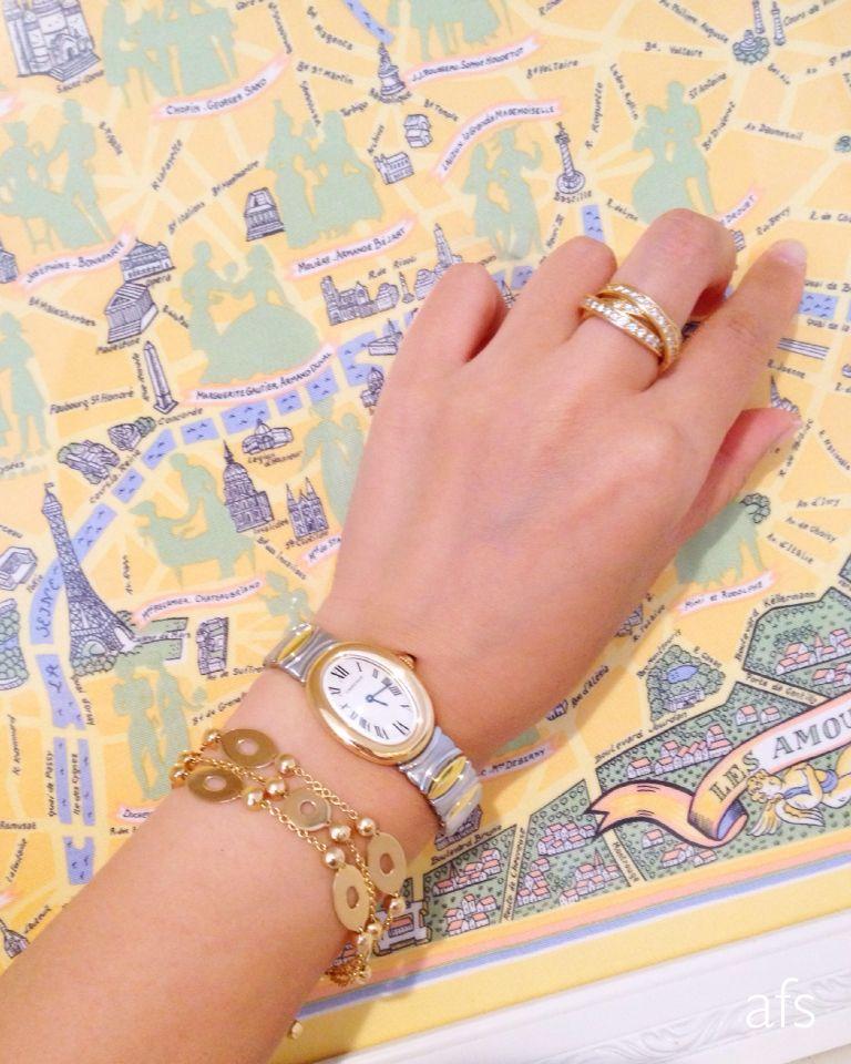 My Collection   Cartier Baignoire Belle époque Watch × Cartier Trinity Full  Diamond Ring ×Bulgari