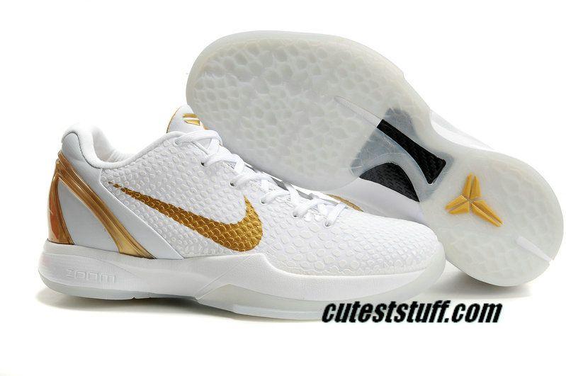 2d3d4a338d0e Nike Zoom Kobe 6 Shoes Teaser White Metallic Gold 436311 071  56.99 ...