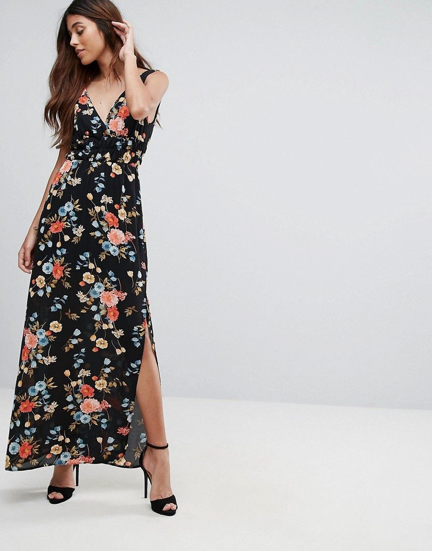 Oh My Love Maxi Dress With Tie Waist And High Split Multi Products