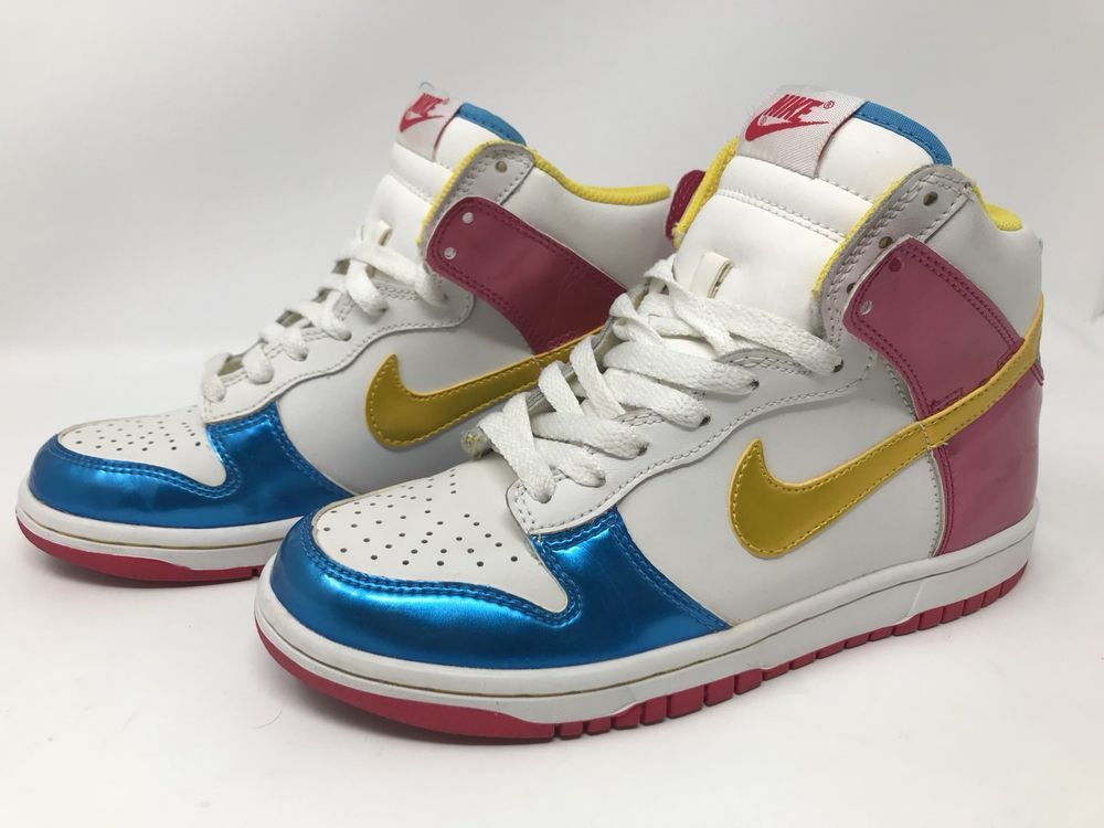 new products f537f 2a22a Nike Dunk High (GS) Rare White Tour Yellow-Berry-Blue Size 5.0Y 316604-171   Nike  BasketballShoes