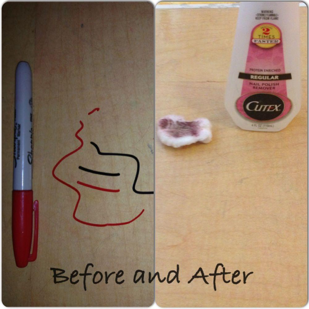 Nail Polish Remover can Remove Permanent Marker from Wood Table. Nail Polish Remover can Remove Permanent Marker from Wood Table