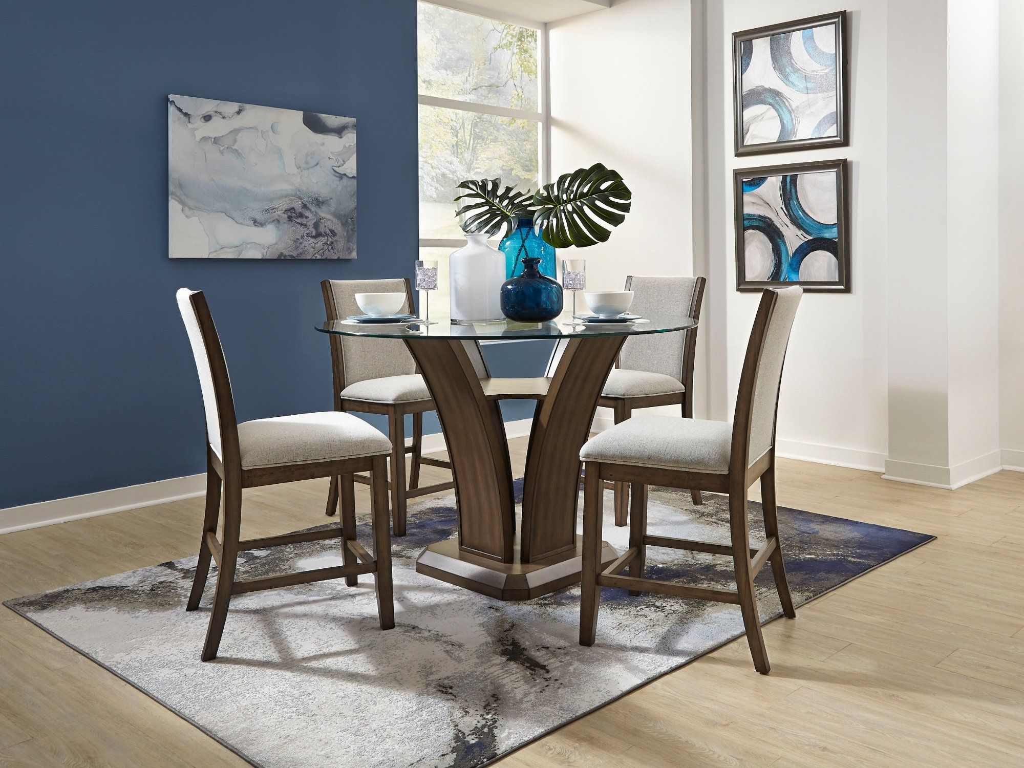 Walnut And Glass 5 Piece Counter Height Dining Set Zayden
