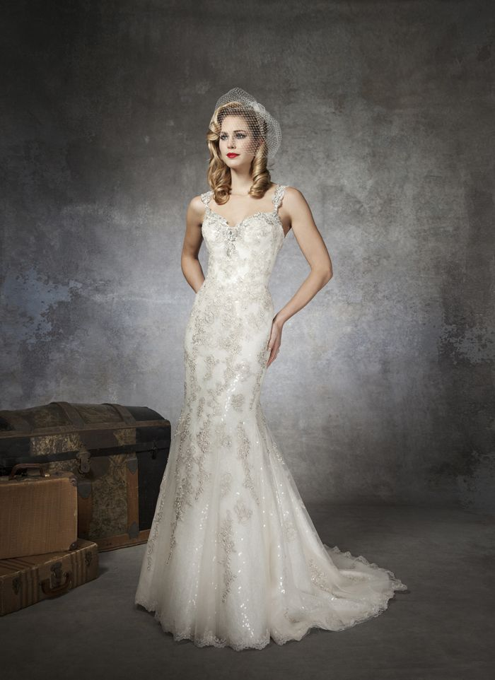 Justin Alexander Wedding Dresses Style 8652 A Crystal And Bugle Beaded Sweetheart Neckline With Cap Sleeves