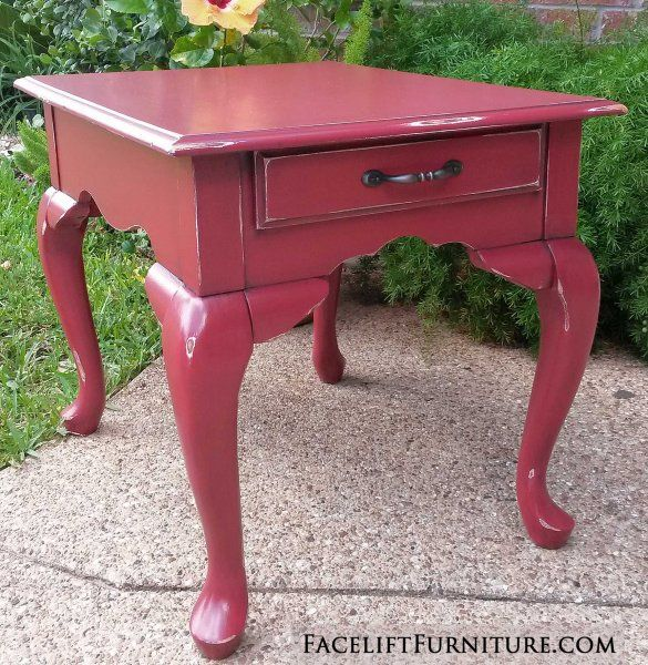 For Sale $135   Queen Anne End Table In Barn Red With Black Glaze.  Distressing