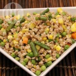 ensalada de arroz con choclo y arvejas