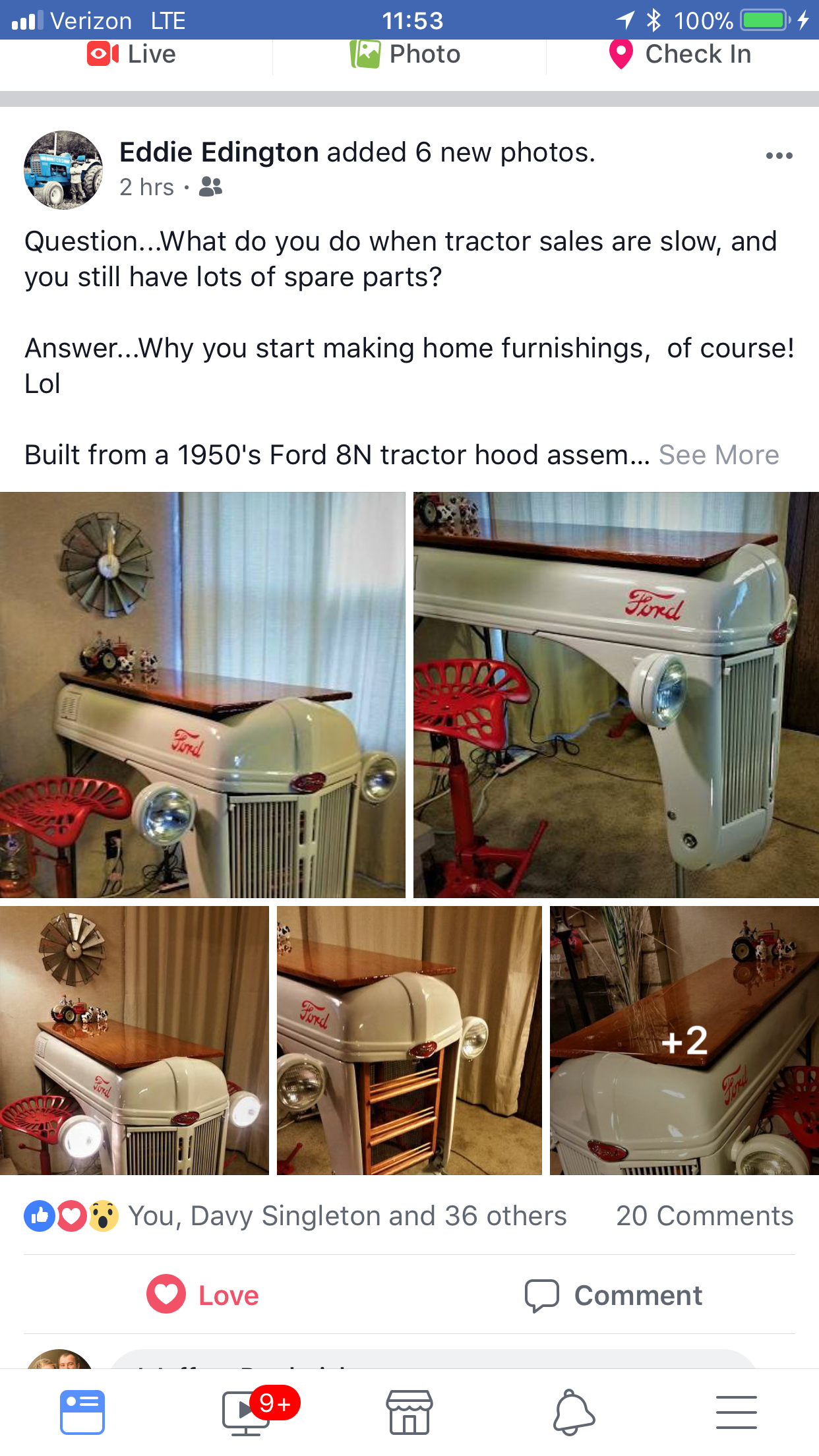 A Friends Dad Started Getting Crafty With His Tractor Parts How Ford 8n Cool Eddieedington Tractordecor Bar Table