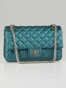 67d3ff5c6c48 Chanel Turquoise Metallic 2.55 Reissue Quilted Classic Leather 225 Small Flap  Bag (2008)