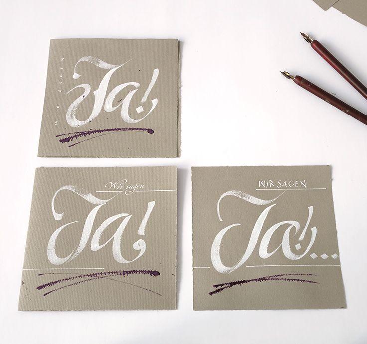Einladung zur Trauung Deckblatt Kalligrafie Handlettering