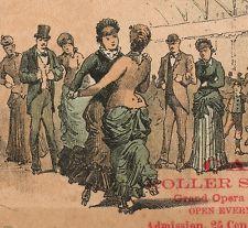 Casino Roller Skating Rink Newark NJ gay? Victorian Advertising Trade Card 1880s