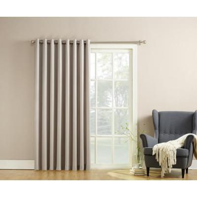 Sun Zero Semi Opaque Gregory 100 In By 84 In Solid Window Patio Panel In Stone Grey Glass Door Curtains Room Darkening Patio Door Curtains