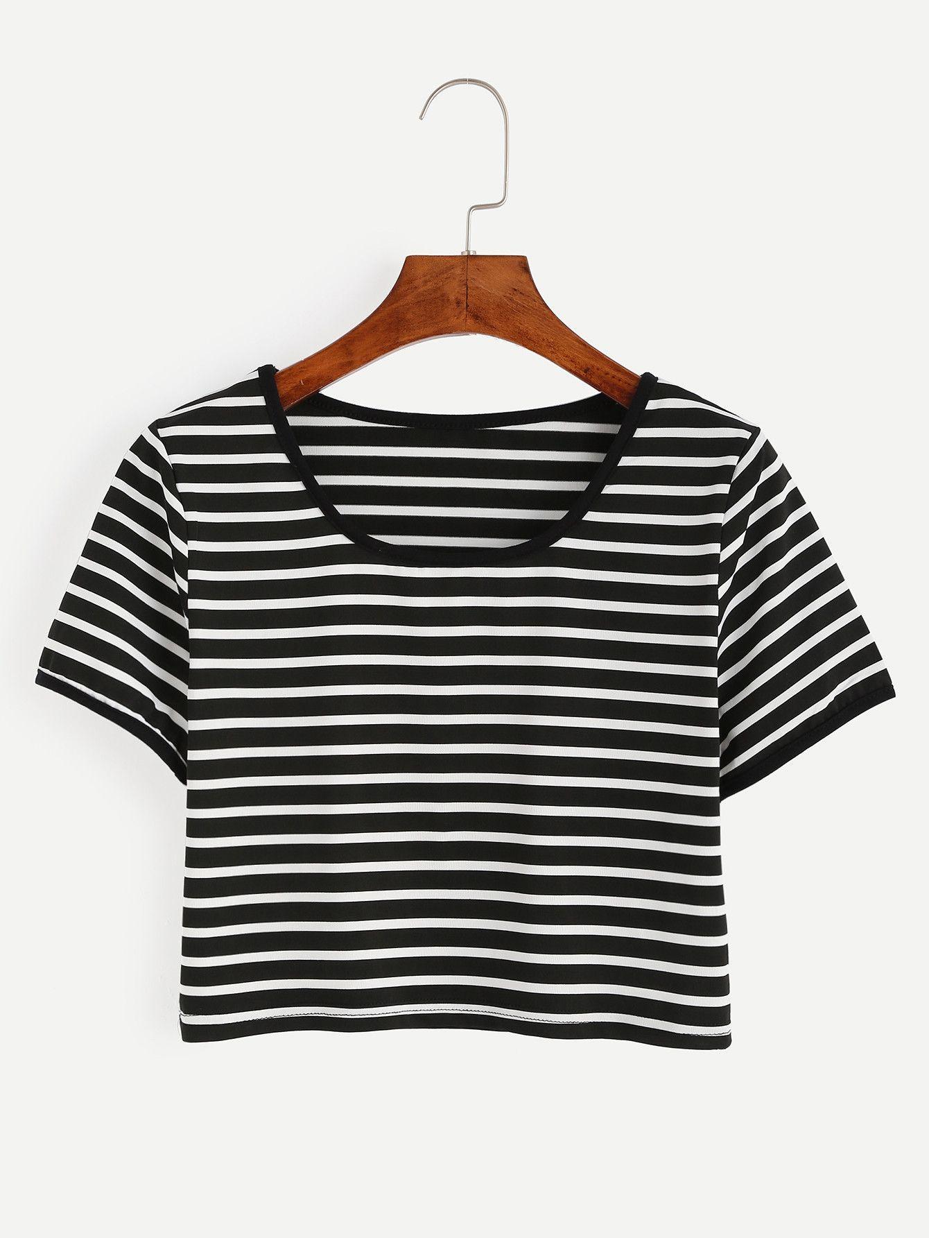 a51a96440f4 Black and White Striped Crop T-shirt EmmaCloth-Women Fast Fashion Online