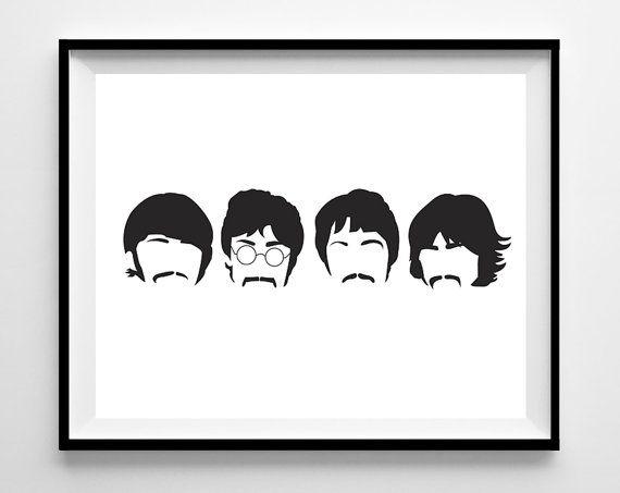 Beatles Minimalist Band Poster Silhouette Music Heads Minimal Wall Art Lennon