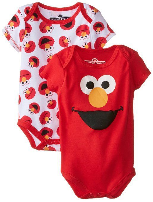 a46f3d7be Disney Baby Baby-Boys Newborn Elmo Sesame Street 2 Pack Bodysuit, Red, 6-9  Months