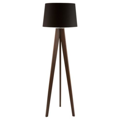 Tesco lighting tripod wooden floor lamp dark wood black for Floor lamp with red shade black