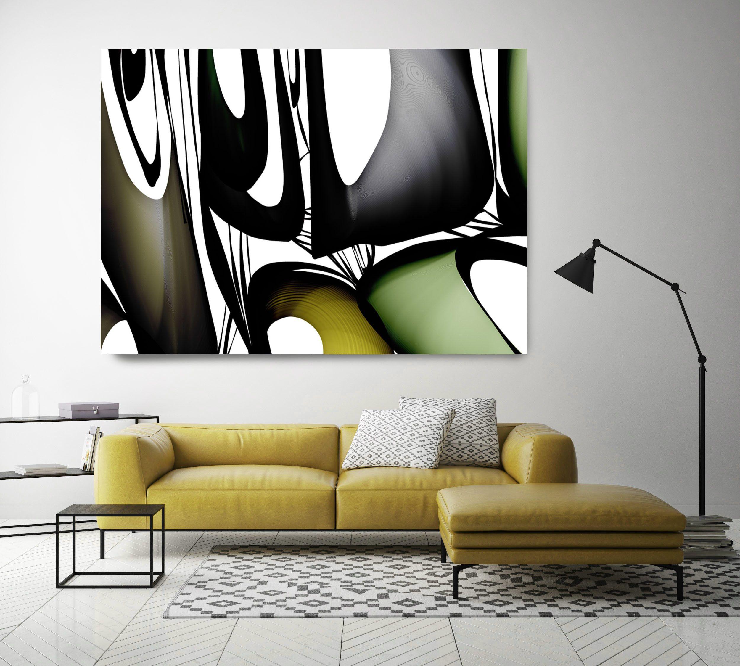 Mid century abstract 291 midcentury modern green black