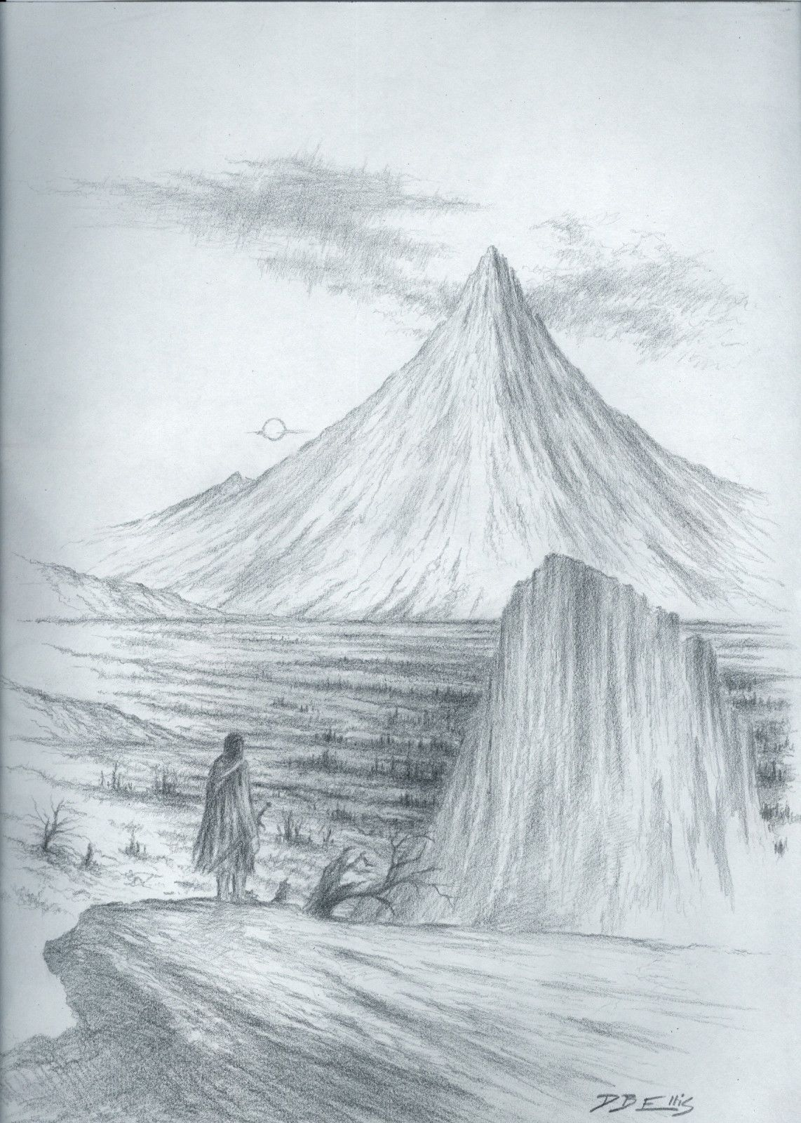 The Lonely Mountain 9x12 Inches Graphite On Paper Bilbo