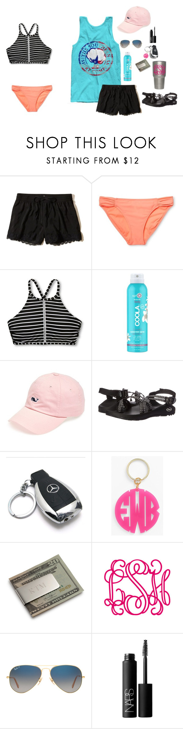"""""""Untitled #108"""" by tatheo ❤ liked on Polyvore featuring Hollister Co., Xhilaration, COOLA Suncare, Vineyard Vines, Chaco, Mercedes-Benz, Moon and Lola, Personalized Planet, Harold's and Ray-Ban"""