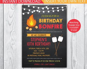 Camp invitation bonfire invitation bonfire party graduation bonfire party invitation bonfire birthday fall birthday invite cookout party camp out birthday halloween party filmwisefo Image collections
