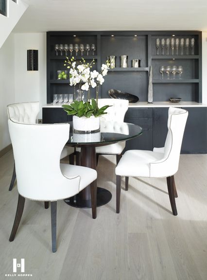 Kelly Hoppen For Regal Homes Hyde Park Gardens Www Kellyhoppen Com Www Regal Homes Co Kelly Hoppen Interiors Nailhead Trim Dining Chairs Brown Dining Room