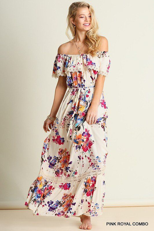 865d7620463 Bohemian off-shoulder Floral Maxi Dress