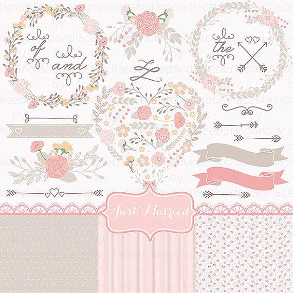 Hochzeit Kranz Clipart Blume Rosa blasse Blume von 1burlapandlace