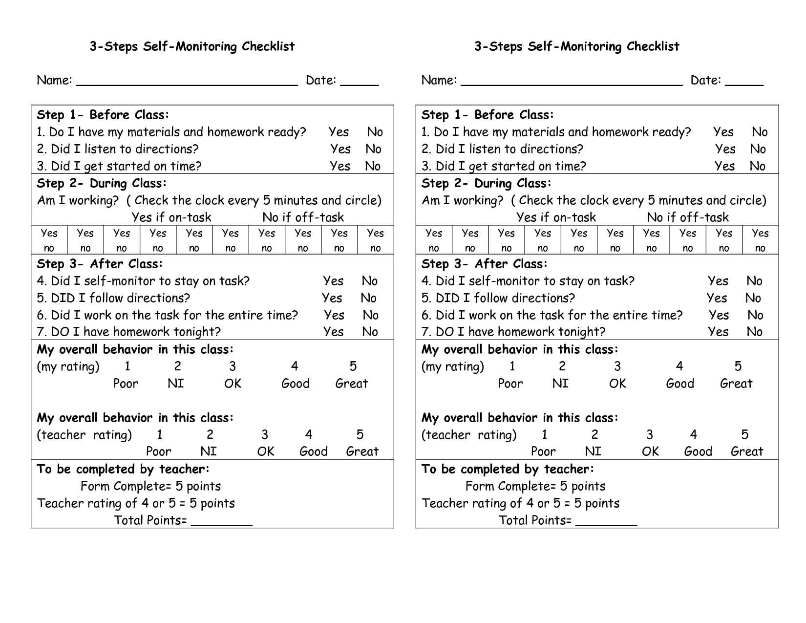 Self Monitoring Behavior Charts For Student To Self