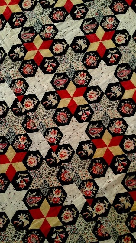 19thc Cheater Cloth Antique Quilt Fabric Stack 6 Pointed Star Hexagon Floral Antique Quilts Quilts Fabric