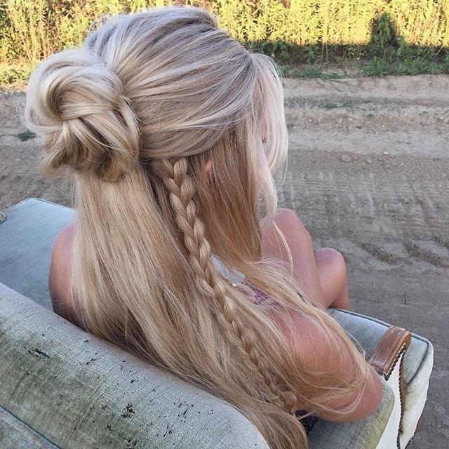 Cute Half Up Bun Hairstyle With A Braid Hair Styles Long Hair Styles Hairstyle
