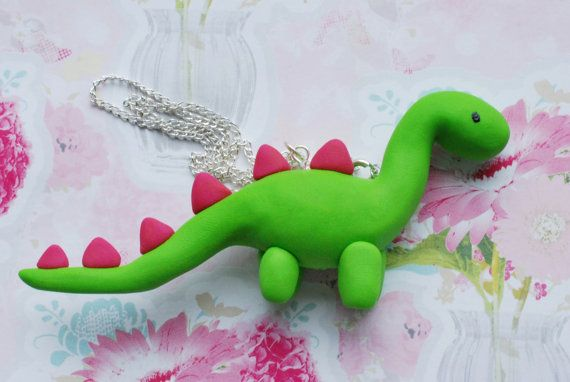 Cute Green Fimo / Polymer Clay Dinosaur Necklace - Pink, Yellow or Orange Spikes Choose One. via Etsy.
