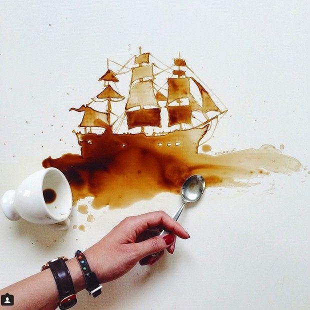 Nada passa pelos atentos olhos da artista italiana Giulia Bernardelli, que é capaz de criar obras de arte com café e com qualquer líquido que cair sobre um papel em branco