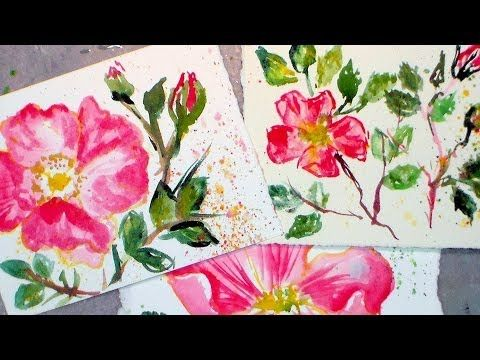 How to paint beach roses in watercolor {easy tutorial!} - YouTube