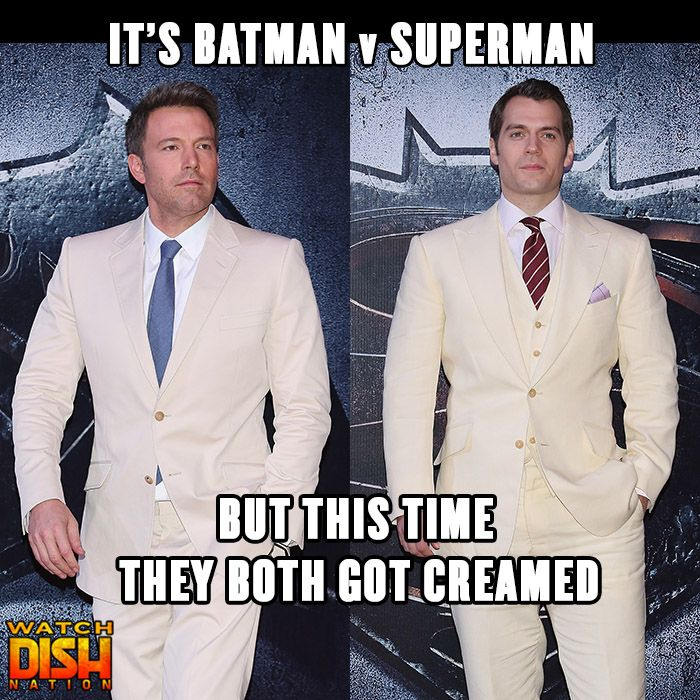 Ben Affleck & Henry Cavill wore matching suits while promoting Batman v Superman: Dawn of Justice this weekend.
