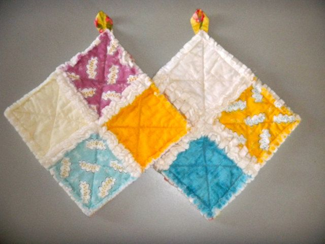 Rag Quilt Potholder Set In Yellow Blue And Lilac Sewing